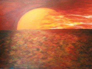 La fin du long jour du Nord dans Amore sunset-on-water1-300x225