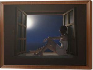 quadri-in-cornice-donna-seduta-sul-davanzale-della-finestra-durante-la-notte-luna