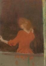 Vuillard, Donna in rosso, di spalle alla finestra